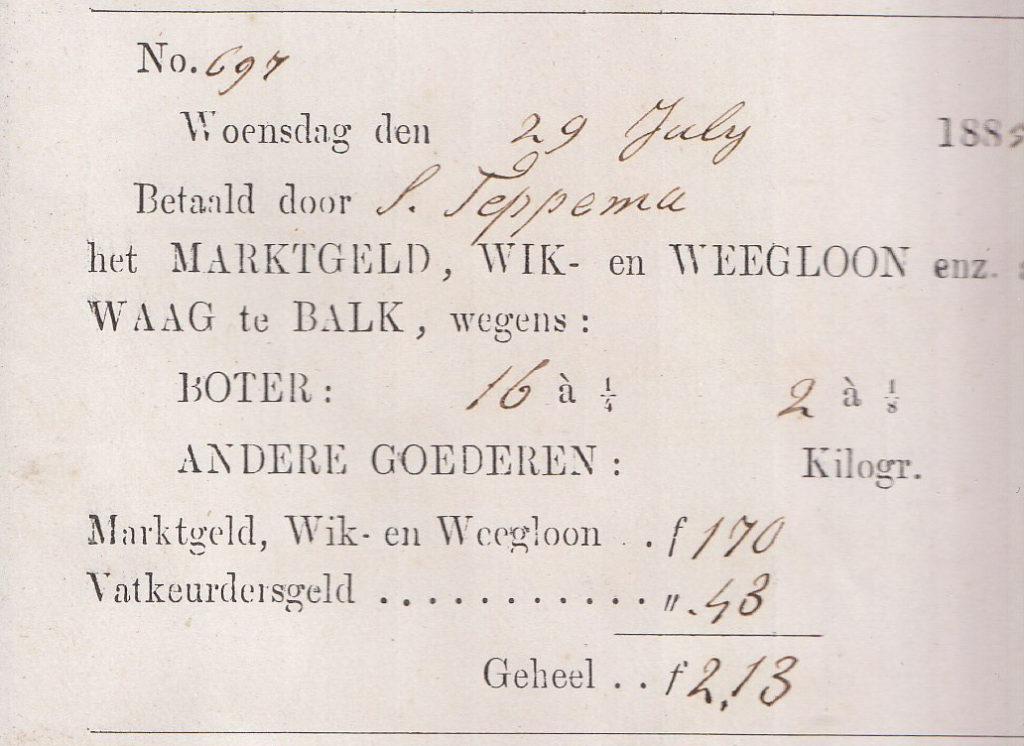 boterhandel Balk A 104 Lytse Side 18840729 weegbriefje S. Teppema